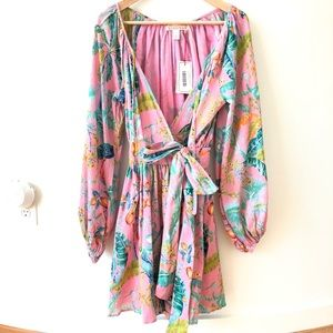 NWT Banjanan Colorful Printed Wrap Mini Dress